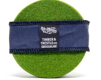 Round Merino Wool Felt Coaster Set – 5MM Thick – Olive Green