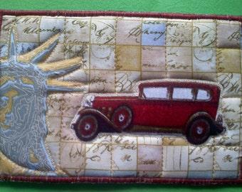 Crossing America Fabric Postcard, Road Trip in Vintage Auto FABRIC Postcard