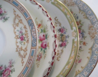 Vintage Mismatched China Saucers for Tea Party, Wedding Plates, Bridal Shower, Tea Plates, Bridesmaid Gift, Cottage Chic - Set of 4