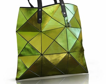 Metallic Lime Green Leather Bag, Green Leather tote, Leather Bag, Women Tote Bag, Metallic Leather Bag, lime green bag, women leather tote