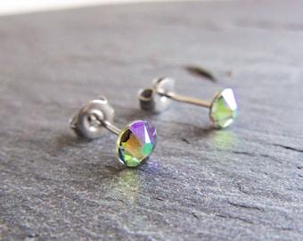 Purple green crystal stud earrings, Swarovski post earrings, Paradise Shine Swarovski, surgical steel earrings, 5mm studs, small earrings