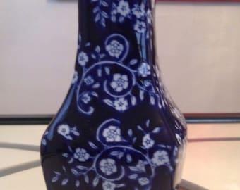 Vintage Midcentury Colbalt blue and white oriental vase