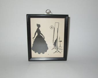 Vintage Lady Silhouette Framed Print