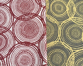 "ABORIGINAL Fabric Brown or Yellow Abstract Circles Precut Quilt Squares. 5"" Quilt Charm Squares. Fabric for quilting Australia"