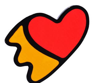 LOVE - GRAPHIC HEART - print acrylique  laser cut pin back badge - pop art style