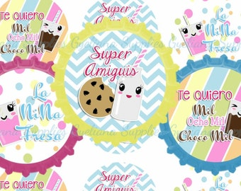 Bien Fresa y Choco Milk Instant Download Bottlecap Images 1 JPG FILE
