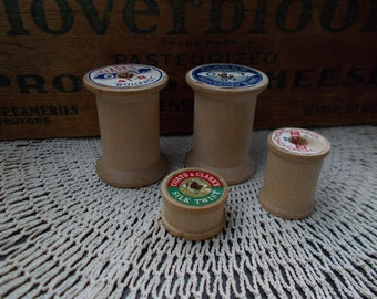 Vintage Wooden Spool Lot, Sewing, Crafts, Vintage Display, Mixed Media