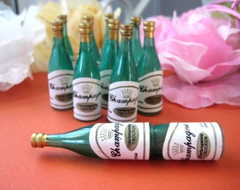 """Mini Champagne Bottle, Champagne Bottle for New Year's Eve Celebration, Wedding, Anniversary, Bachelor, Cupcake Toppers, 2.25""""h, 12 Bottles"""