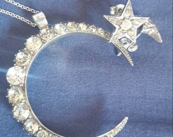 Antique Silver and paste Crescent moon and stars  parure