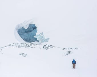 Hiker Going Up Snow Covered Mountain Art Print Wall Decor Image - Unframed Poster