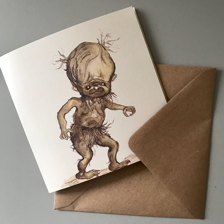 Harry Potter Gnome Watercolour Handmade Greeting Card UK