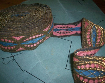 antique french metal trim pink, blue, gold