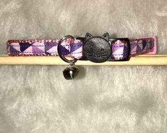 "Purple Cat Collar- ""Purple Prisms"" - Breakaway Cat Collar / Kitten Collar"