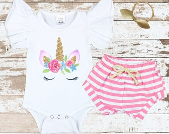 Watercolor Gold Unicorn Face Flutter Sleeve Bodysuit | Unicorn Outfit| Flutter Sleeve Leotard