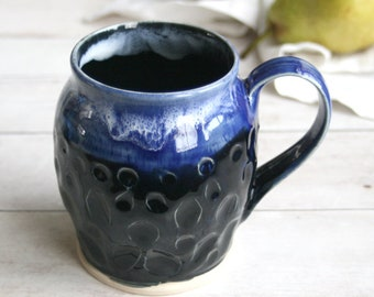 Large Carved Stoneware Mug with Dripping Shiny Black and Blue Glazes 18 oz. Handmade Stoneware Coffee Cup Chunky Coffee Cup Made in USA