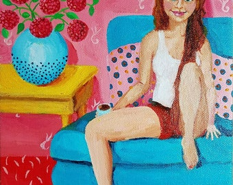 """Seated Woman and Her Cat- Original, colorful, whimsical cat painting. 8"""" x 10"""" gallery wrap canvas"""