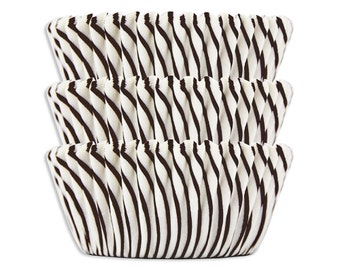 Black Candy Stripe Baking Cups - cupcake liners, cupcake papers