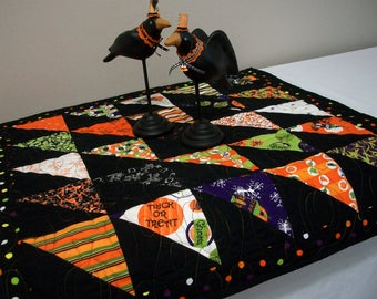 Halloween Table Topper Quilted FREE US Shipping Quiltsy Handmade Black Orange Purple Green