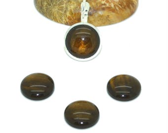 4 cabochons 12 mm synthetic coffee color