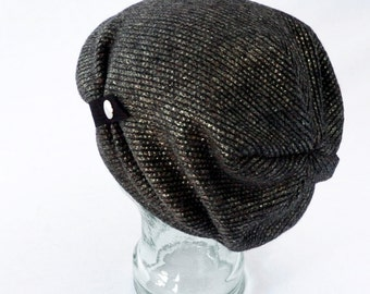 Slouchy Knit Hat in Metallic Pewter and Charcoal Gray : Women's, Mens Hats - Winter Hat - Steampunk Hat - Boho Hat - Cozy Sparkle