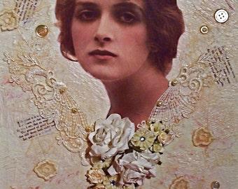 Collage Art - vintage woman's portrait
