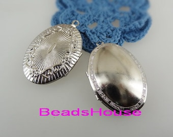 2 pcs -Siler Plated  Oval Locket Pendant Charms,Nickel Free
