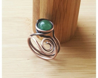 Wire wrapped ring - green jade ring - copper wire ring - wire jade ring - jade jewelry - birthstone ring - gemstone ring- copper ring