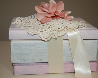 Shabby Painted Book Stack