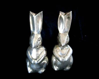 Vintage Silver Plate Rabbits, Pair of Silver Plate Rabbits, Silver Plate Bunny, Easter Bunny, Easter Gift