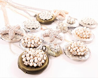 Antique Silver Locket Necklace - Bridesmaid Locket - Vintage Locket Necklace - Sterling Silver Locket - Gold Necklace - Remembrance Locket