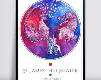 Art print, James The Greater, Camino de Santiago, Santiago Matamoros,  Art Poster Prints