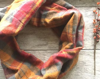 Infinity Scarf ~ Cowl ~ gift for her ~ Loop Scarf ~ Winter Accessory ~ Fall Accessory ~ Accessories ~ Boho Scarf ~pumpkin spoce fall colors