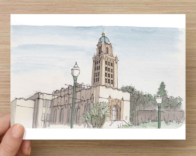 Ink and Watercolor Drawing of Beverly Hills City Hall - Architecture, California, Municipal, Sketch, Art, Pen and Ink, 5x7, 8x10