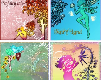 4 Fairies in your garden collages (8 inches square)