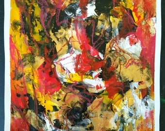 """POINT OF CRAZY- Original Abstract Expressionist Mixed Media Painting On Paper 11x14"""" By Amartiz"""