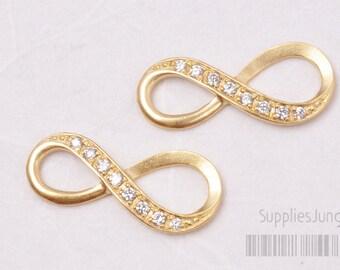 P398-03-MG// Matt Gold Plated Cubic Infinity Pendant, 2pcs
