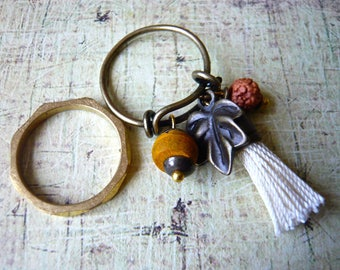 "Pair of rings in brass, Rudraksha ""Tears of Shiva"""
