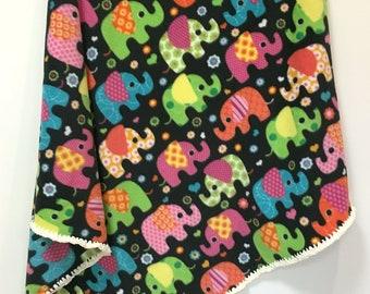 Elephants Baby Blanket  Fleece with Chenille Crochet Handmade Nursery