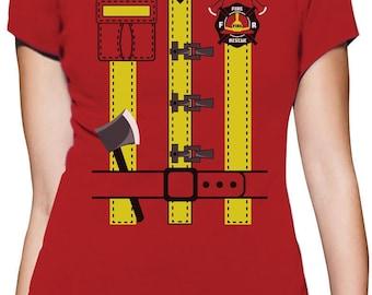 Halloween Fireman Uniform Firefighter Costume Women T-Shirt