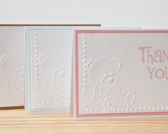10 Embossed Teddy Bear, Baby Thank You Cards.  Baby Shower Thank You Cards. Kraft Baby Thank You Cards.  Handmade Cards