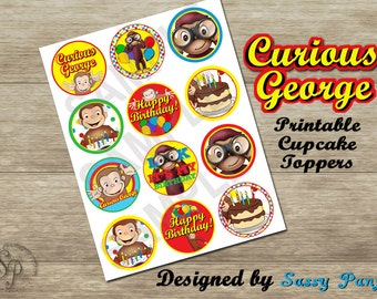 Curious George Printable Cupcake Toppers - Digital, Download Now *SALE