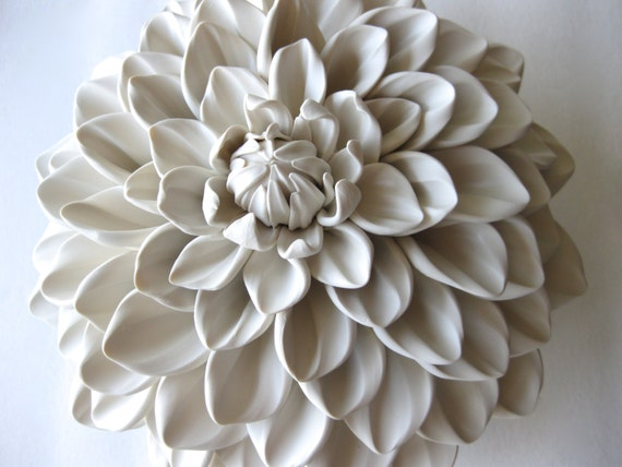 Davenport Honey Dahlia Flower Wall Sculpture Tile