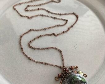 Moss Terrarium Necklace Copper Globe Jewelry Nature Fantasy Arrow