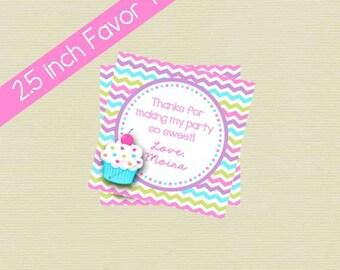 Printable Cupcake Favor Tag/Cupcake Gift Tag/Cupcake Birthday Party