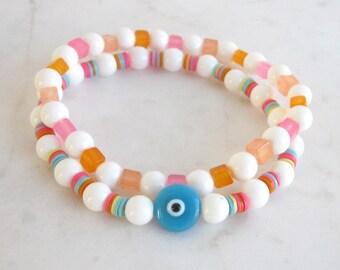 Evil eye beaded bracelet set, white shell candy jade stack bracelets, African vinyl beads bracelet, white stone bracelet, pastel bracelets