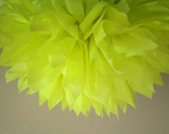 NEON YELLOW tissue paper pompom teen 80's 90's fluorescent birthday party decorations trolls movie theme fiesta bright photo prop backdrop