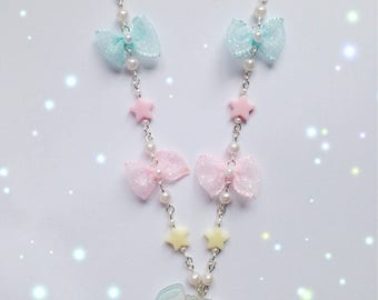Kawaii My Melody Necklace with Star, Bow and Pearl Details, Fairy Kei, Sweet Lolita, Pastel Kei, Harajuku etc inspired