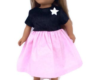 18 Inch Doll Christmas Dress, Sparkly Pink and Black Doll Dress, Party Dress, 18 Inch Doll Clothes, Girl Doll Clothes