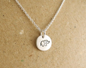 Teeny Tiny Elephant Necklace, Tiny Baby Elephant Necklace, Fine Silver, Sterling Silver Chain, Made To Order