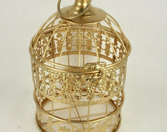 Small Decorative GOLD Metal Bird Cage Wedding or Home Table Decor Choose Size